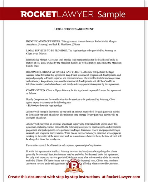 Legal Services Agreement Contract Form With Sle Service Contract Template Doc