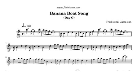 banana boat song jamaican banana boat song trad jamaican free flute sheet music