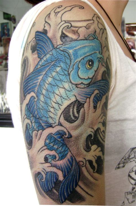 carp tattoo pin blue koi fish tattoos on