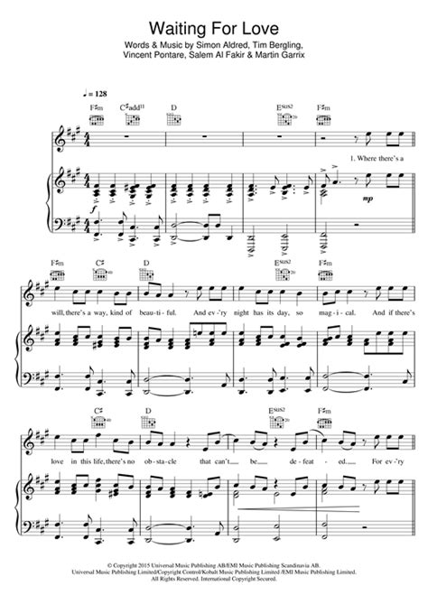 avicii you make me sheet music avicii waiting for love sheet music