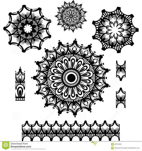 pattern brush round ornament with pattern brush stock illustration