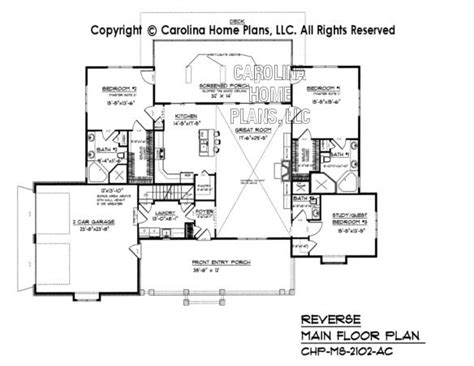 reverse floor plan midsize country craftsman house plan chp ms 2102 ac sq ft