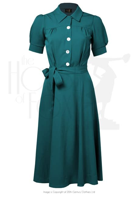 1940s style shirt waister dress in utility green