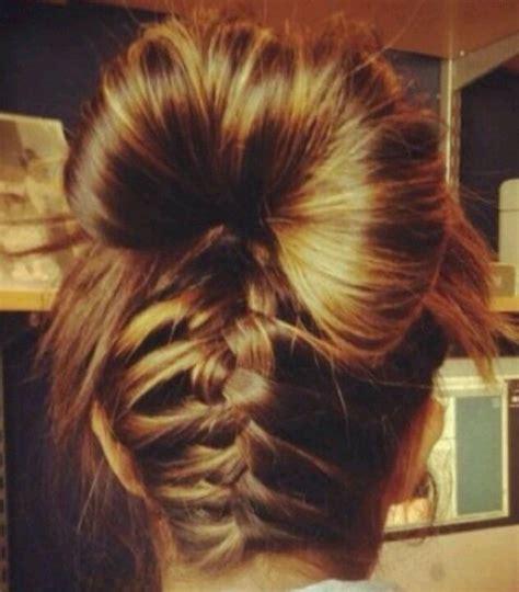 how to under braid underneath french braid with bun hair pinterest