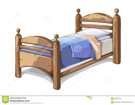 cartoon beds wood bed in cartoon style vector illustration stock