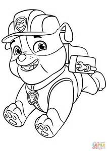 rubble paw patrol coloring page paw patrol rubble with backpack coloring page free