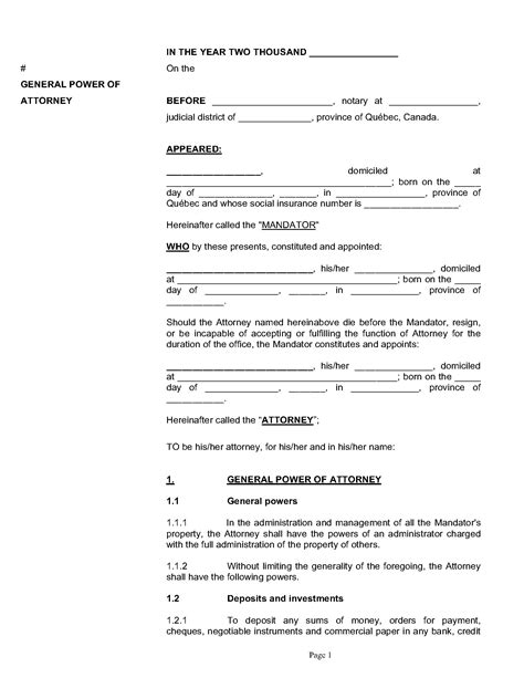 power of attorney template canada general power of attorney version