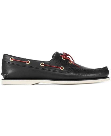 timberland boat shoes non marking lyst timberland men s classic 2 eye boat shoes in black
