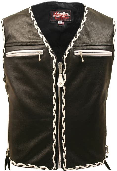 motorcycle vest the elite black motorcycle leather vest white black braiding