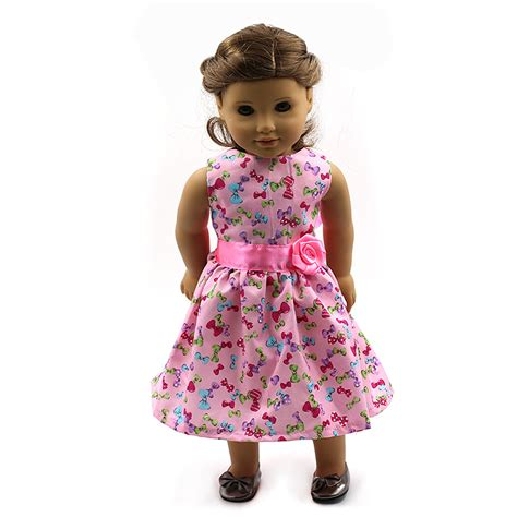 design doll clothes toy 2015 hot beautiful pink pattern doll clothes for 18