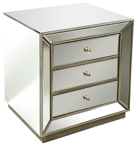 Modern Mirrored Nightstands Mie Studded Mirrored Nightstand Modern Nightstands And Bedside Tables By Statements By J