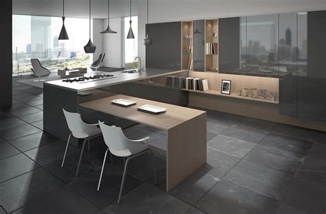 Natural Wood Kitchen Island by Gorgeously Minimal Kitchens With Perfect Organization