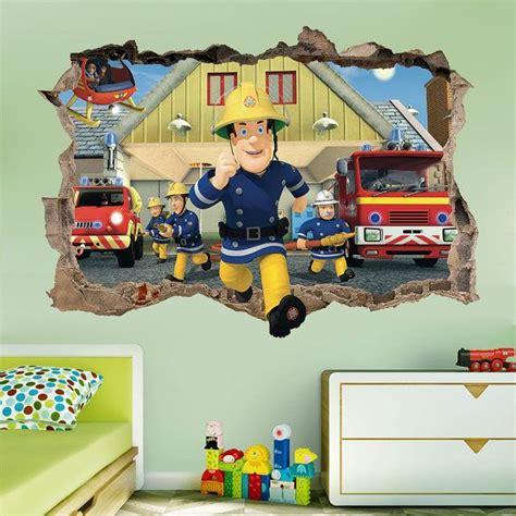Fireman Sam Bedroom Furniture Fireman Sam 3d Wall Sticker Smashed Bedroom Decor Vinyl Decal Removable Home
