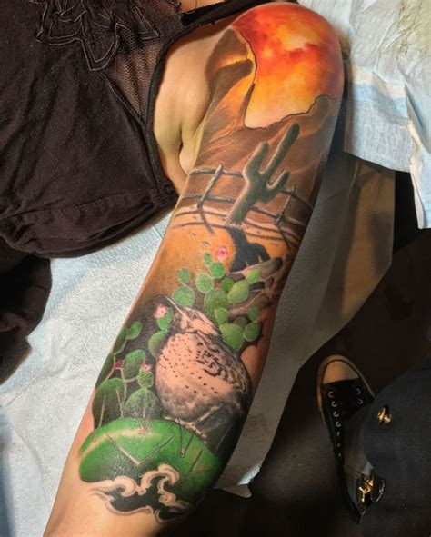 siegeart arizona desert arizona desert tattoo color cactus