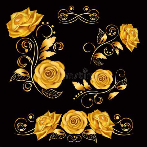 floral black orange gold background heart royalty free stock photos image 36536688 blumen vektorillustration mit goldrosen dekorativ