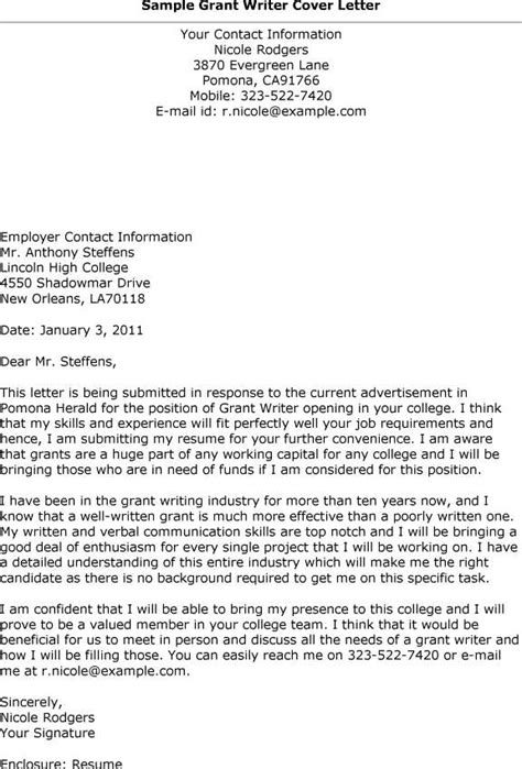 Examples of grant application cover letter