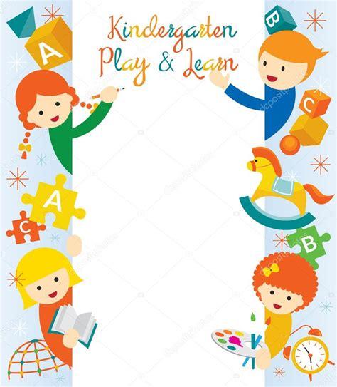 doodlebug playschool kindergarten preschool border and frame stock