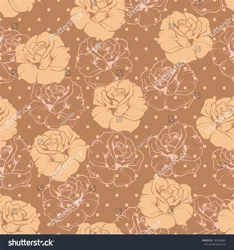 beautiful seamless vector polka dots pattern background can seamless vector retro floral pattern with beige roses on