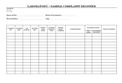 complaints register template laboratory sle complaint register format