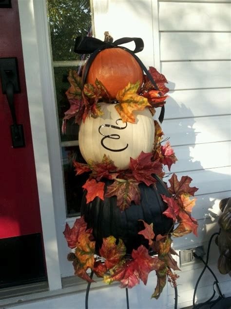 Pumpkin Tower Decoration by Fall Decorations Tricolored Pumpkin Tower With Family
