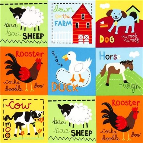 Ballard Designs Lamp Shades cute farm animal squares fabric by robert kaufman fabric