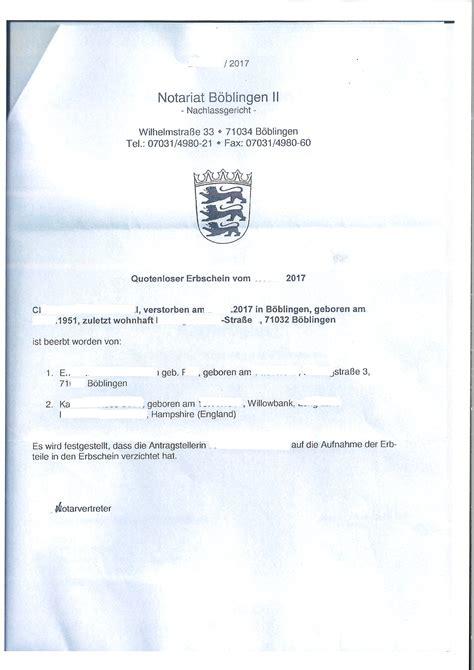 Anschreiben Notar quotenloser erbschein cross channel lawyers