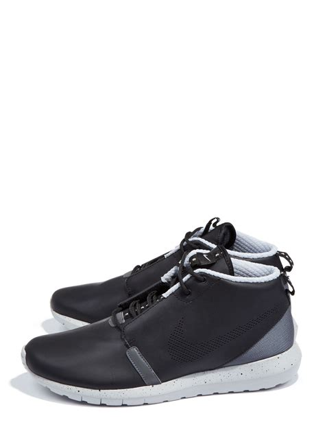 nike leather roshe run sneaker boots in black for lyst