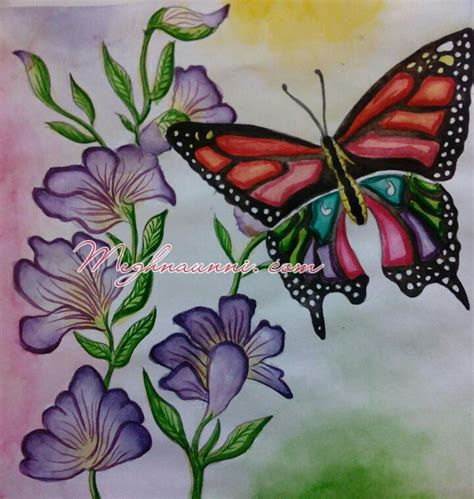 painting color flowers butterfly indradhanush painting watercolor