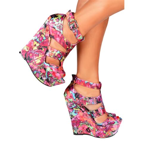 Wedges Floral onlineshoe satin wedge peep toe platform shoes strappy
