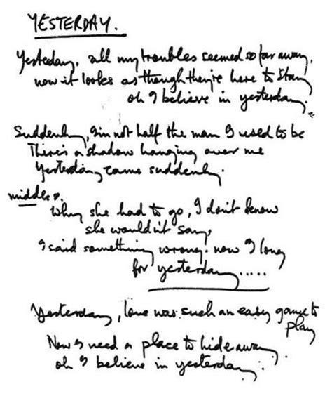 testo yesterday beatles mccartneymadness original handwritten lyrics for