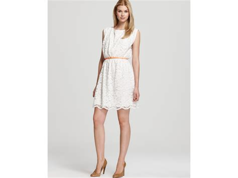 Lace Dress With Belt lyst vince camuto lace dress with belt in white