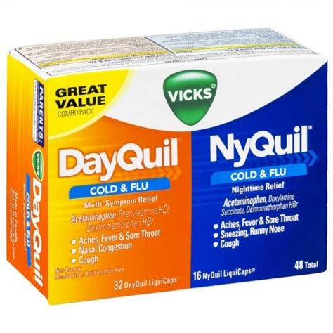 Shower Bath Combo by Vicks Dayquil Amp Nyquil Cold Amp Flu Combo Pack Liquicaps 48