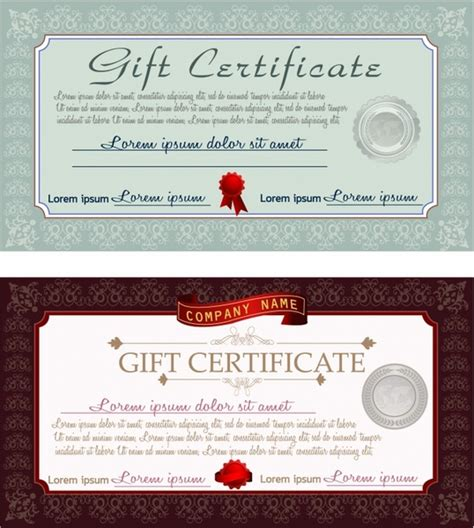 gift certificate free vector in adobe illustrator ai ai