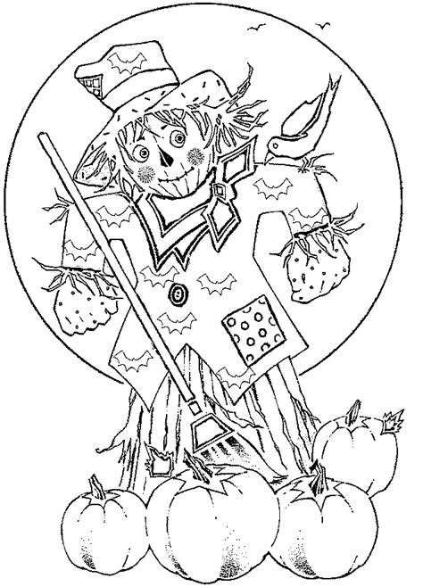 kids scarecrow coloring pages