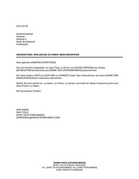 Muster Einladung Abschiedsfeier Ruhestand Einladung Zu Einer Abschiedsfeier Vorlagen Und Muster Biztree