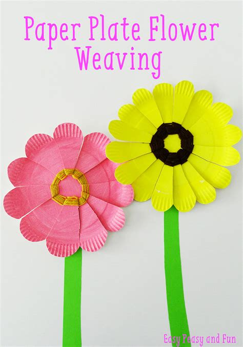 paper plate flower weaving flower crafts easy peasy and