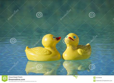 Rubber Toyz Blue plastic ducks in pool royalty free stock photos image