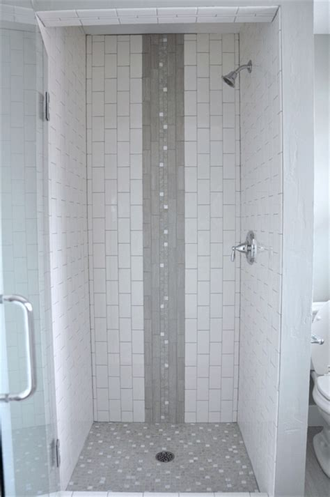 vertical subway tile shower stall with waterfall accent capiz shell tile ikea decora
