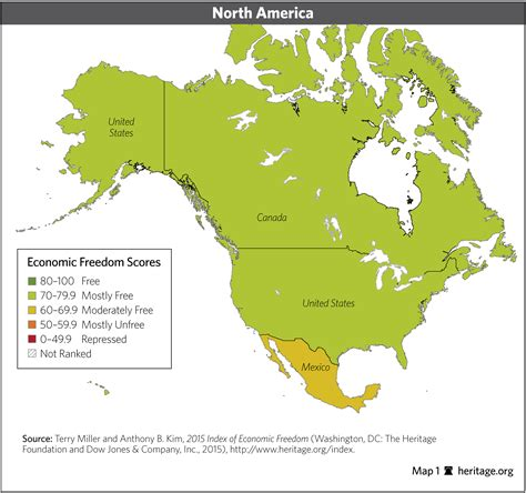 america economic map global and regional trends in economic freedom 2015