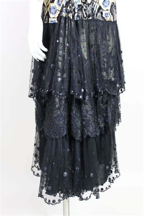 Lace Tiered Tulle Culottes by 1920s Cut Velvet Floral Gown With Tiered Lace Skirt For