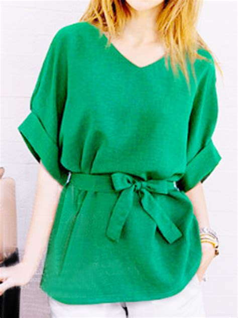 Tie Sleeve V Neck Blouse green v neck bow tie sleeve blouse withchic