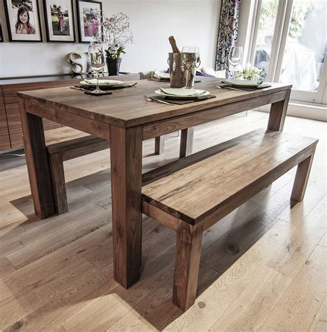 Wooden Kitchen Table With Bench by Karang Reclaimed Wood Dining Table And Benches Ebay