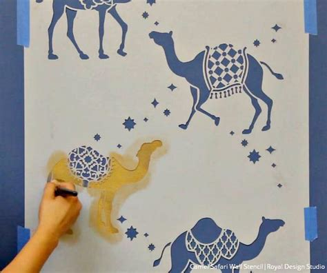 vomiting camel pattern in gold how to stencil tutorial metallic moroccan camel wallpaper