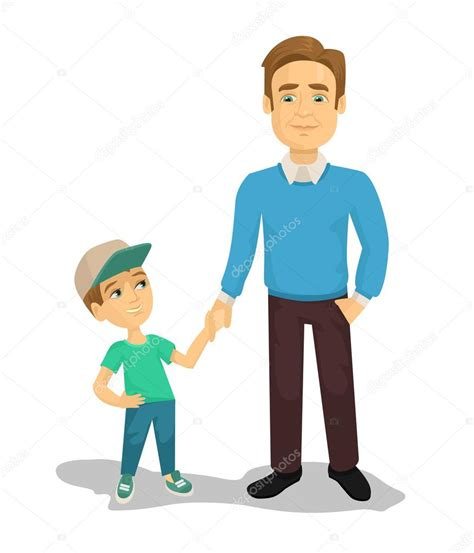 father and son cartoon vector father and son flat cartoon illustration stock