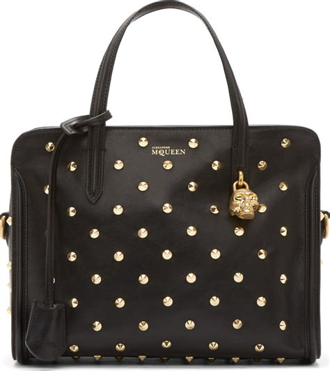 20348 Black Gold Skull Handbag mcqueen black leather gold studded skull padlock bag in black lyst