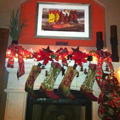 mantel western theme holidays christmas pinterest