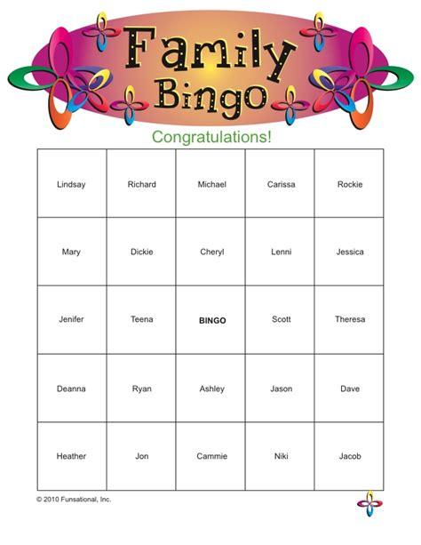 printable games for family reunion family bingo christmas pinterest