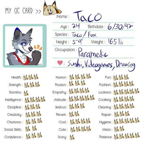 Thanks For 200 Followers Oc Card Furry Amino Oc Template Amino