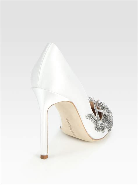 Manolo Blahnik Poppy Heels by Lyst Manolo Blahnik Embellished Satin Point Toe Pumps In
