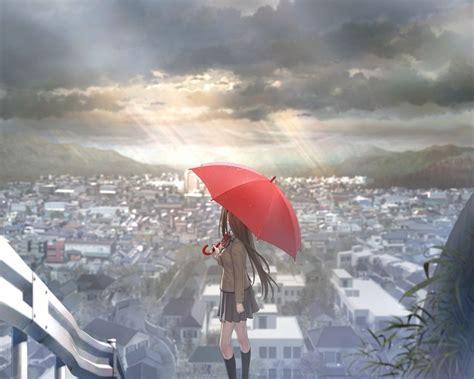 wallpaper anime girl alone anime girls umbrellas cities alone wallpaper walldevil